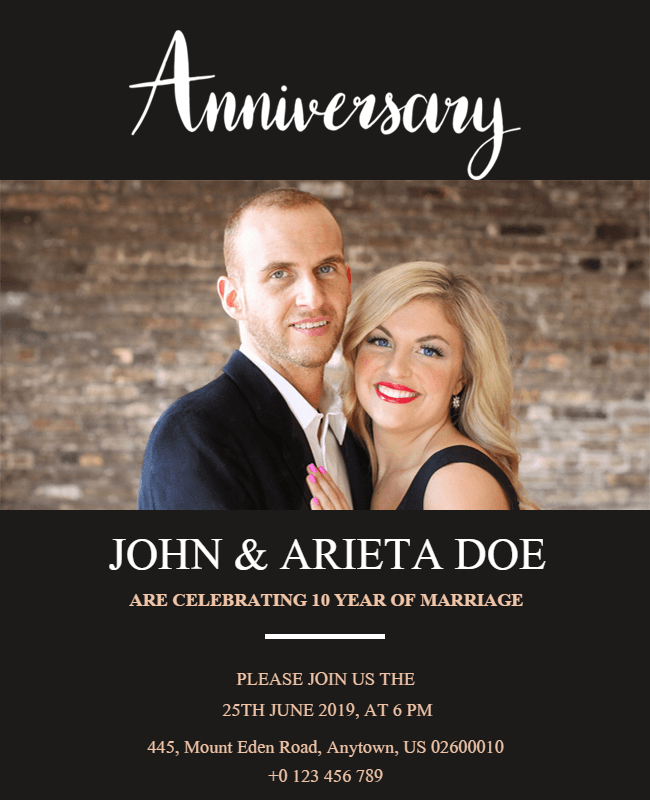 wedding anniversory template