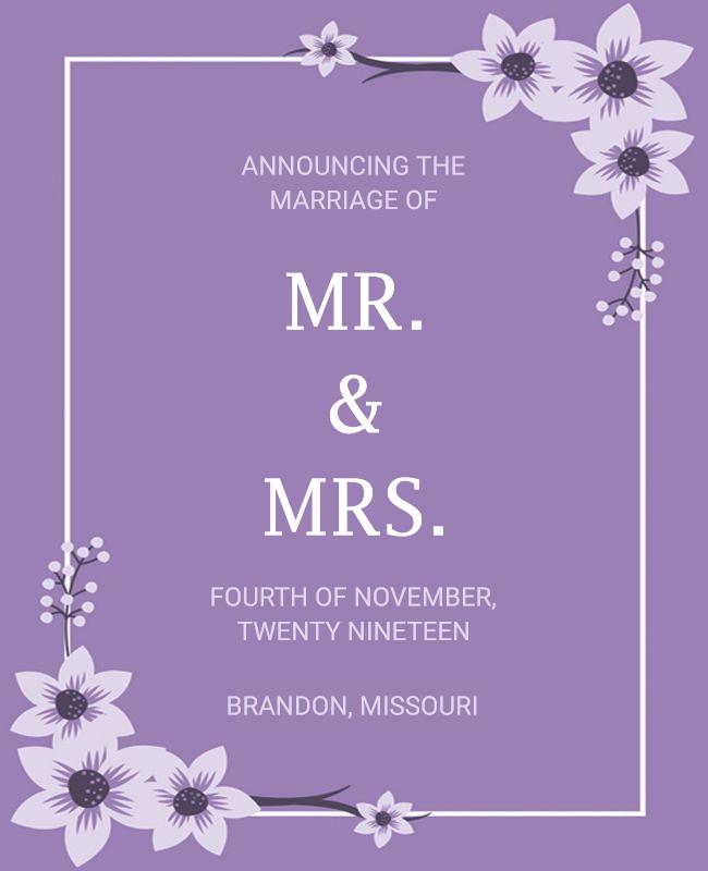 wedding announcement template purple