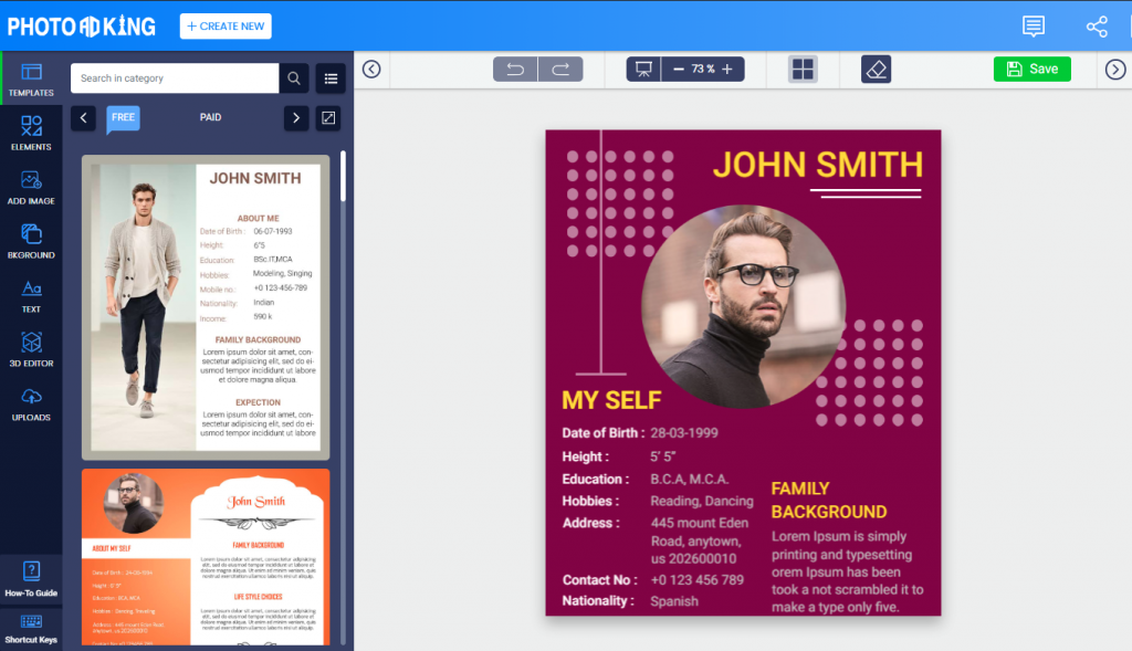 photoadking screen shot biodata template