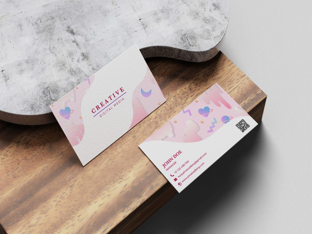 business card with wood