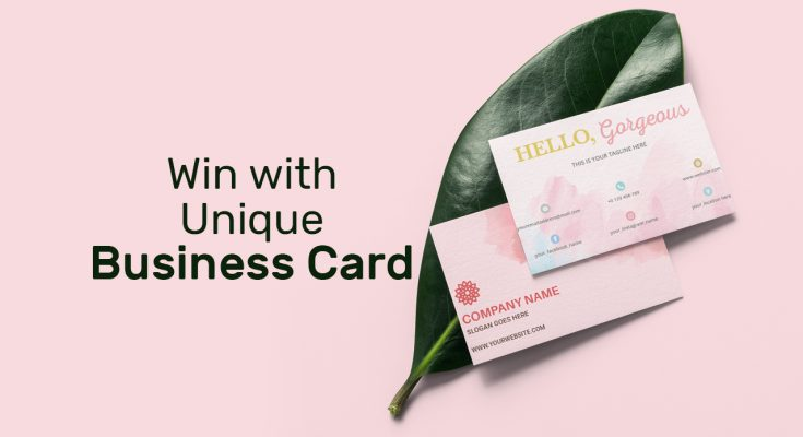 win with unique business card