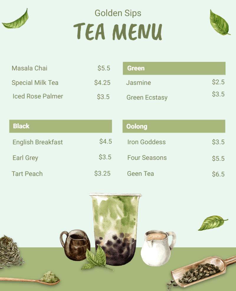 tea menu card template