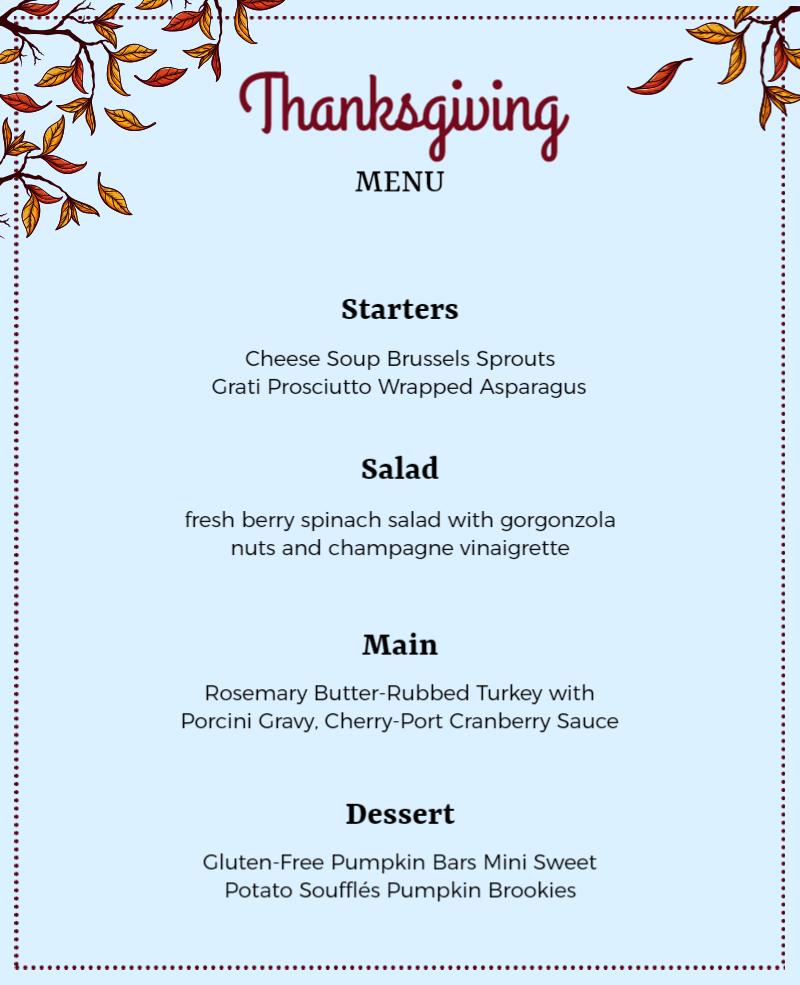 thanksgiving menu card template