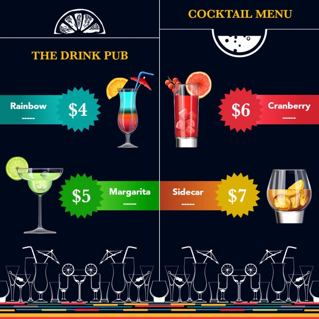 restaurant menu flyer type