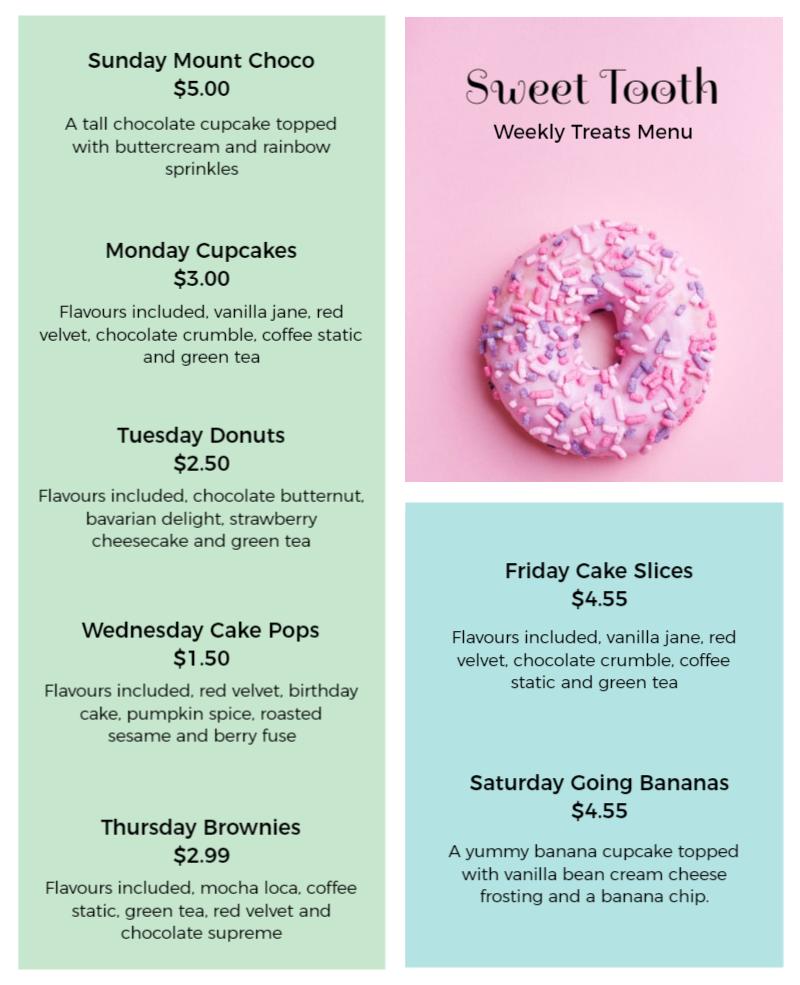 beautiful food menu infographic