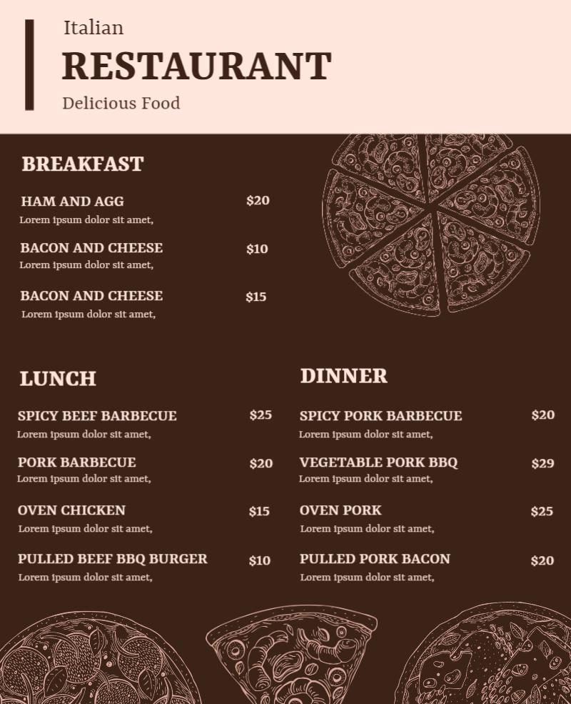 pizza restaurant menu sample