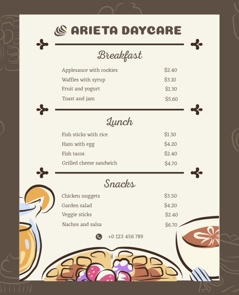 illustrative restaurant menu