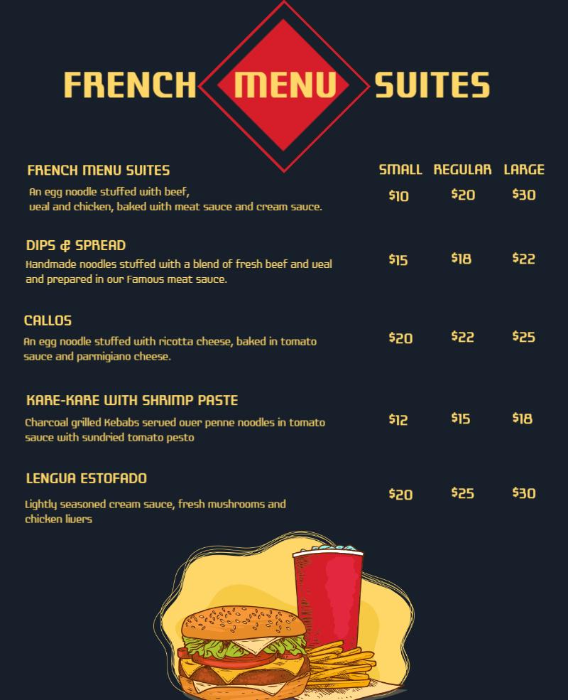 french restaurant menu card design