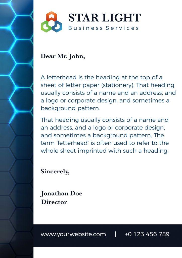 letter head sample template