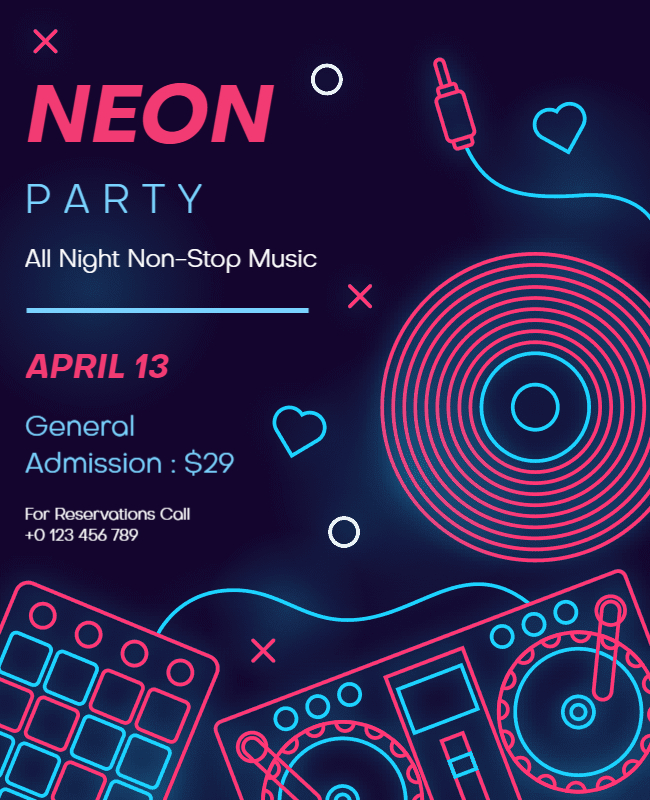 neon party template