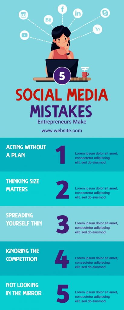 Social media mistakes infographics