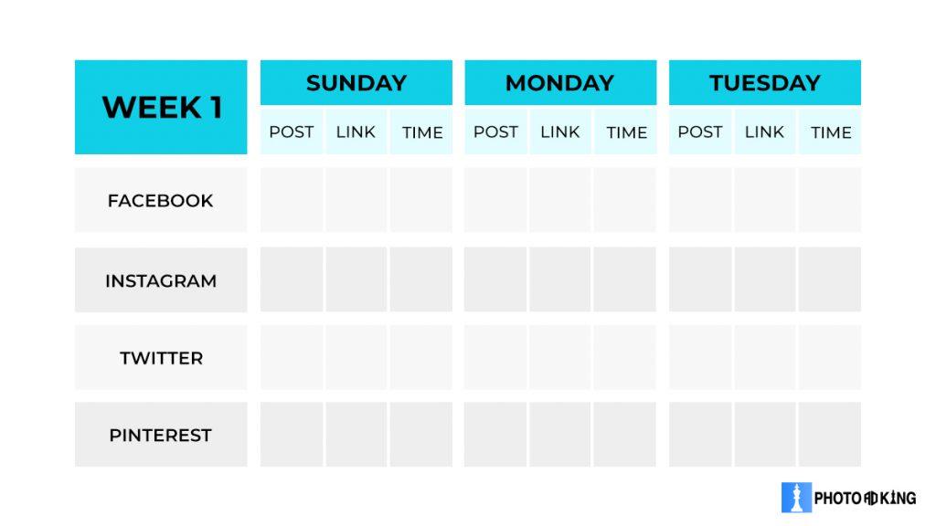 weekly social media calendar blank