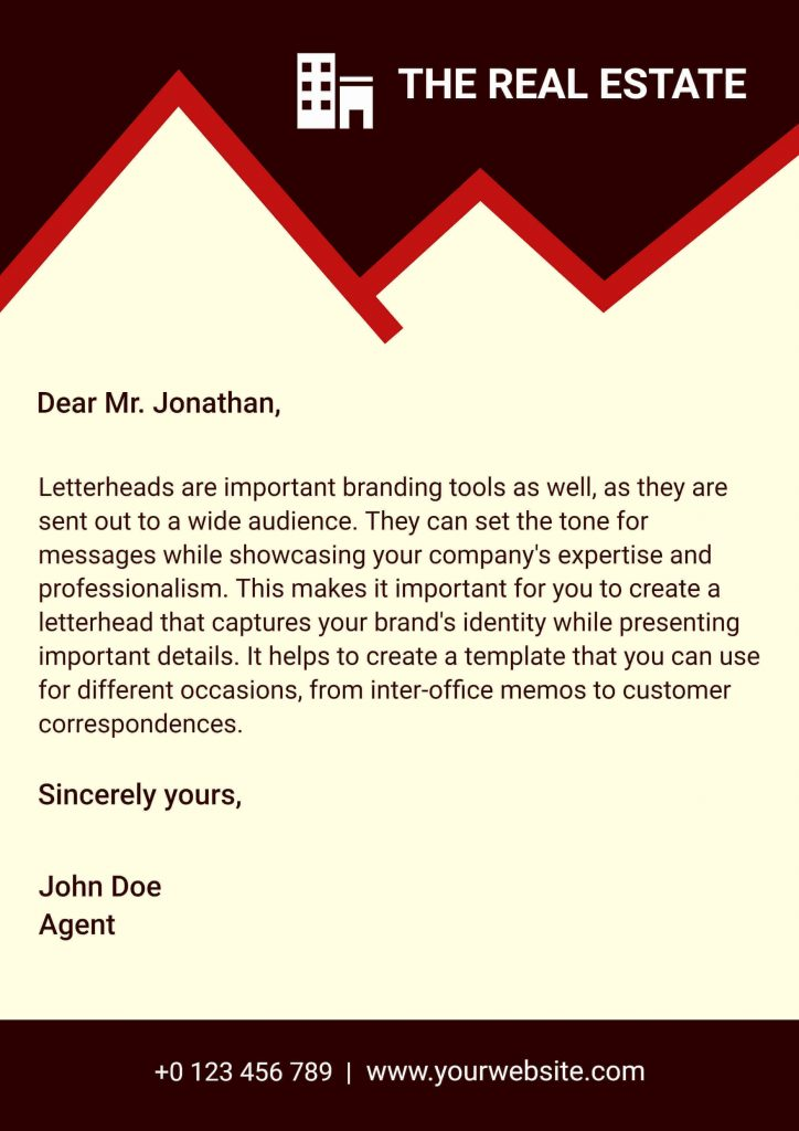 real estate letterhead templates