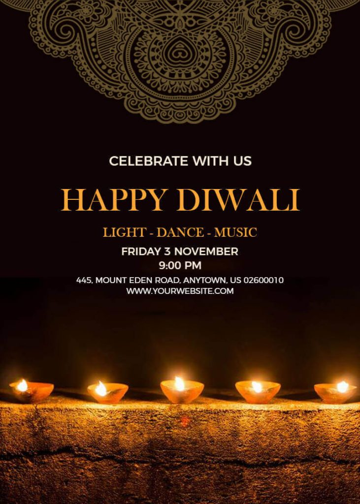 Diwali party poster templates
