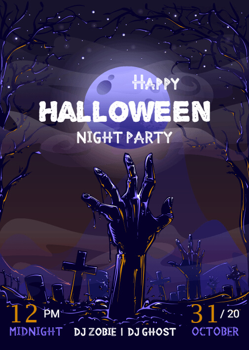 Halloween theme night party templates
