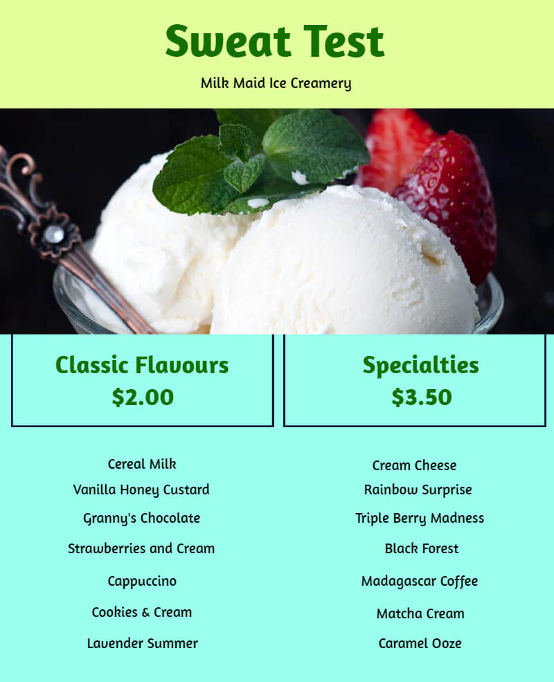 Menu for ice-cream house
