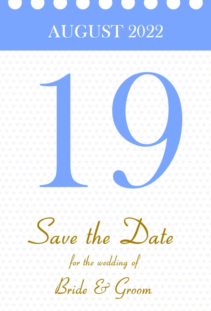 Counter style calendar save the date templates