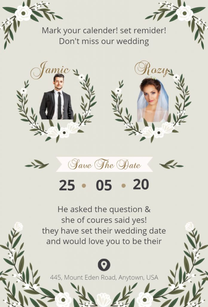 Garden/Forest theme Save the date card