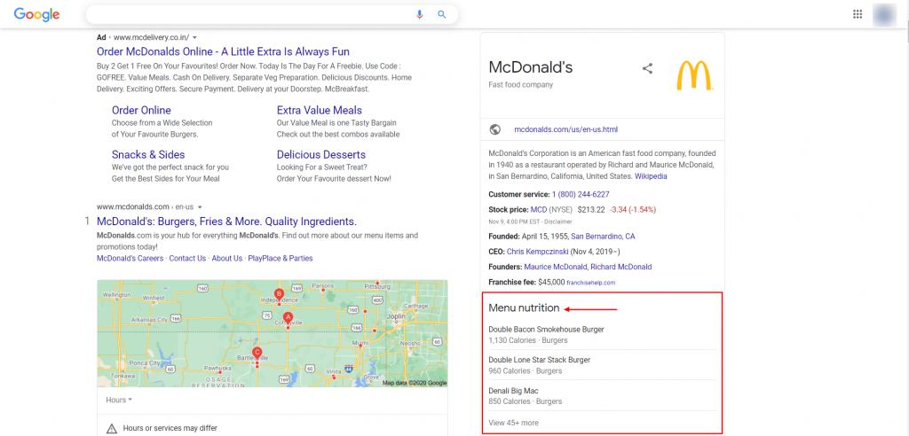 Menu tool of google my business