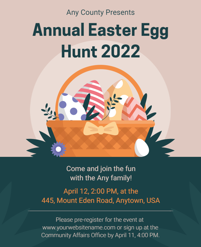 easter egg hunt event card ideas