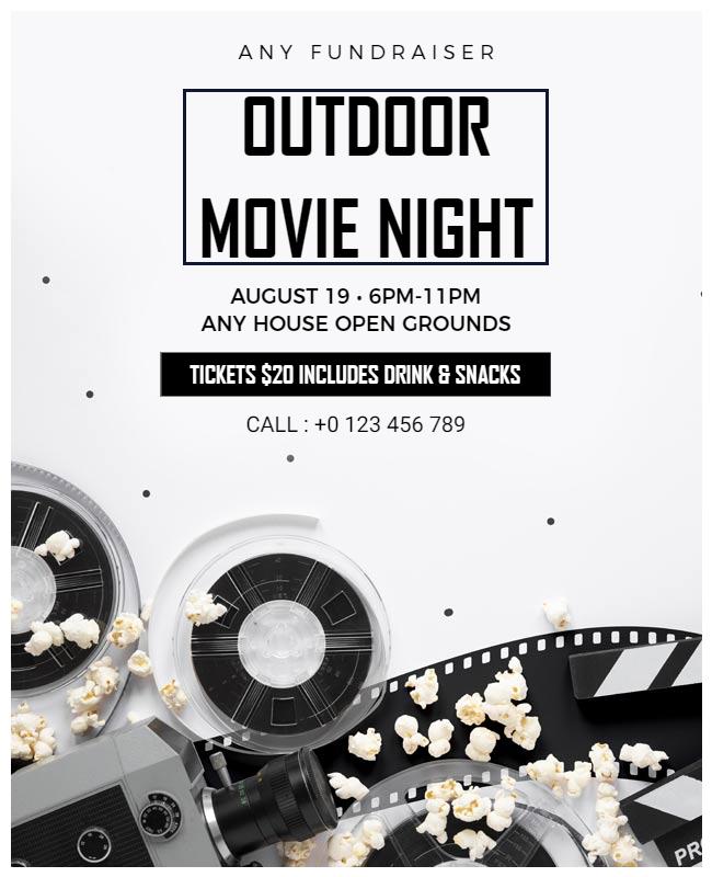 Movie night party flyer illustration