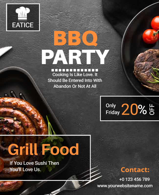 BBQ party flyer designs