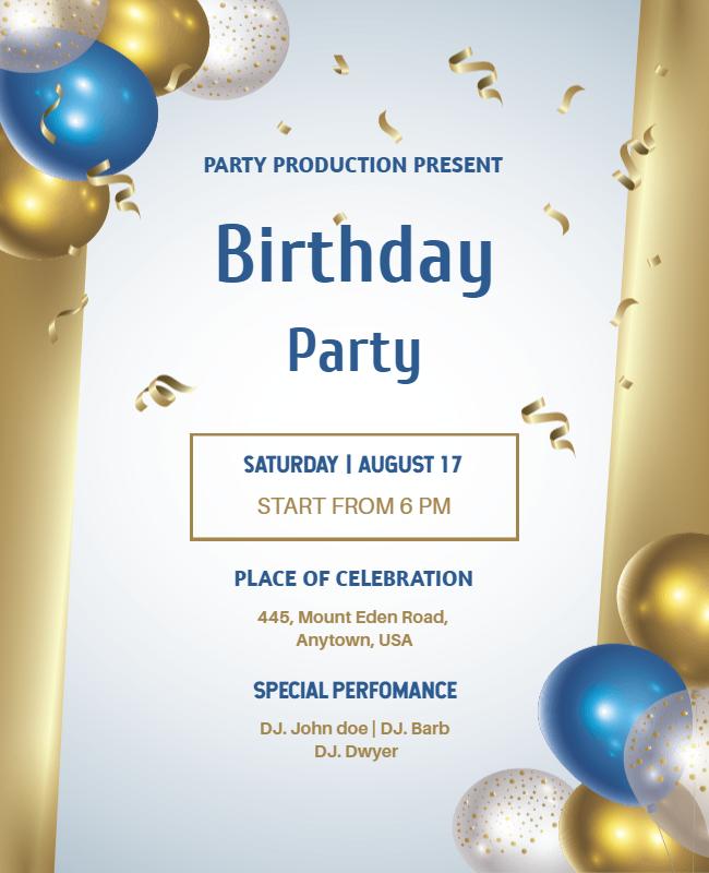 Birthday party flyer ideas