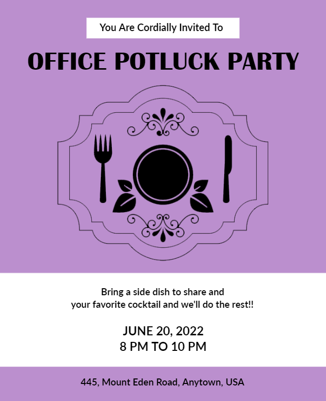 Office Potluck party flyer samples