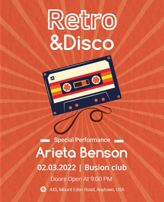 Retro party flyer samples