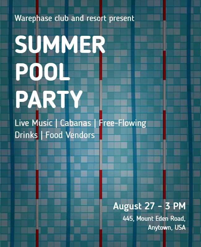 Summer pool party flyer designs