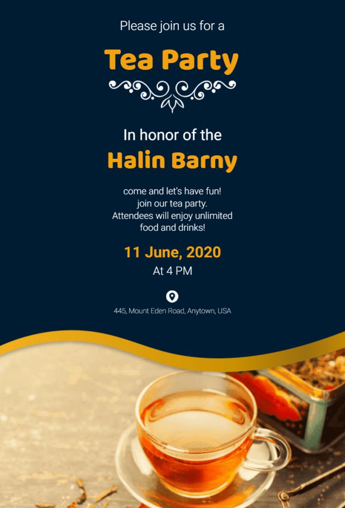 Tea party flyer illustration