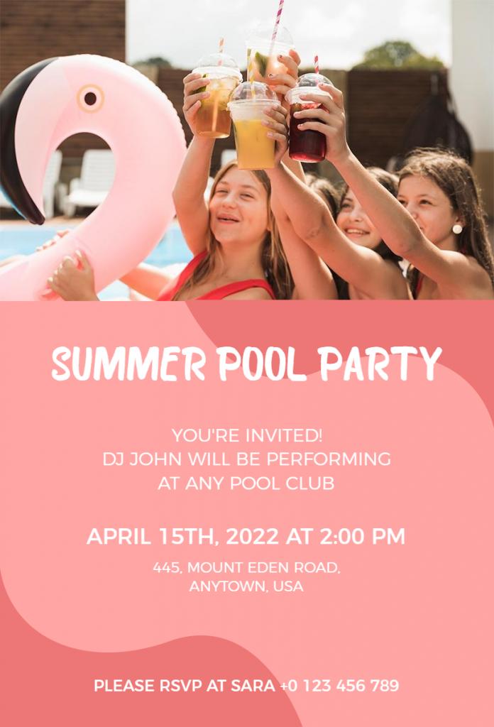 Summer pool party flyer ideas