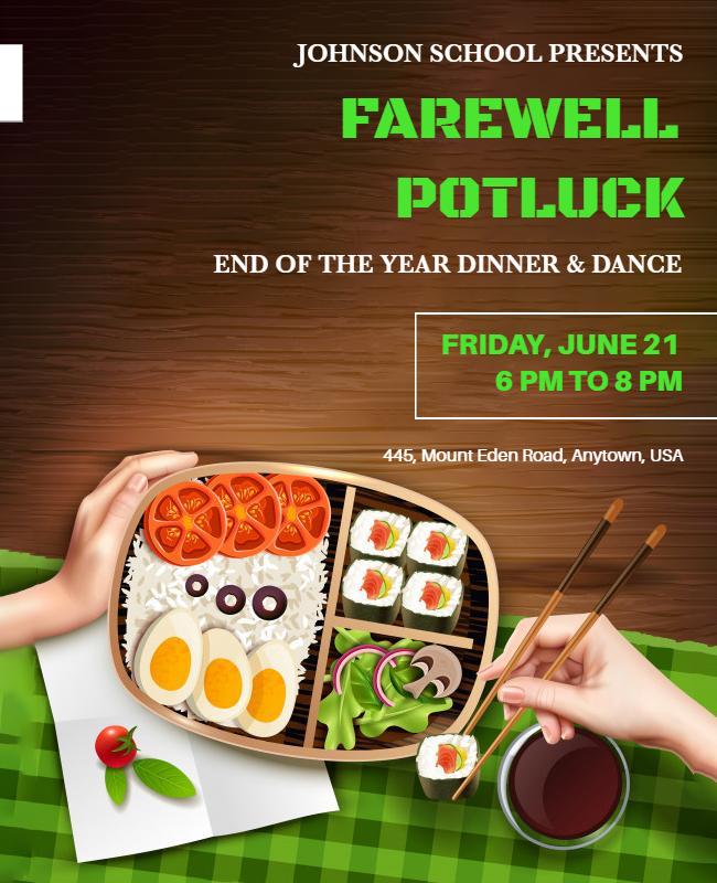 Farewell potluck party flyers
