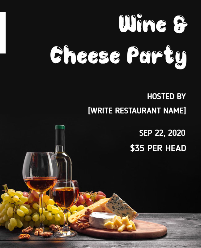 Wine & Cheese Party flyer designs