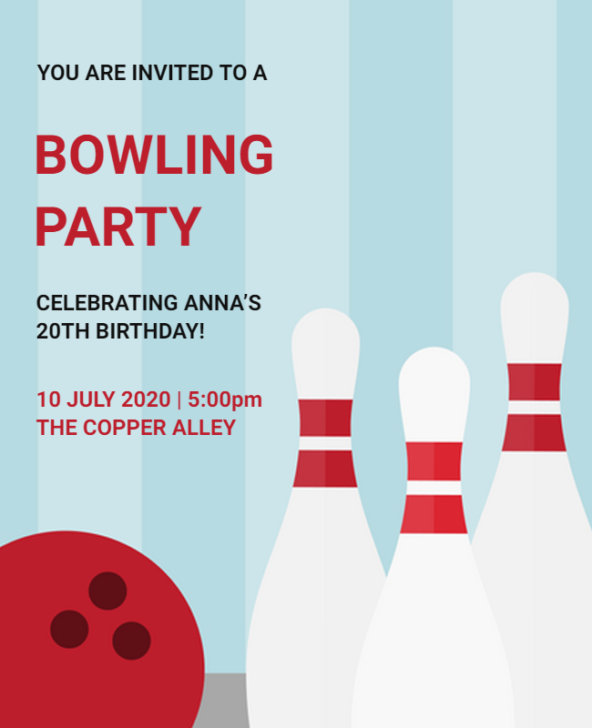 Bowling Party Flyer designs