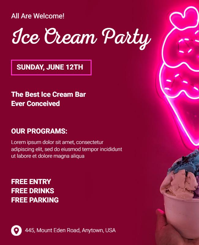 Ice Cream Party Flyer designs