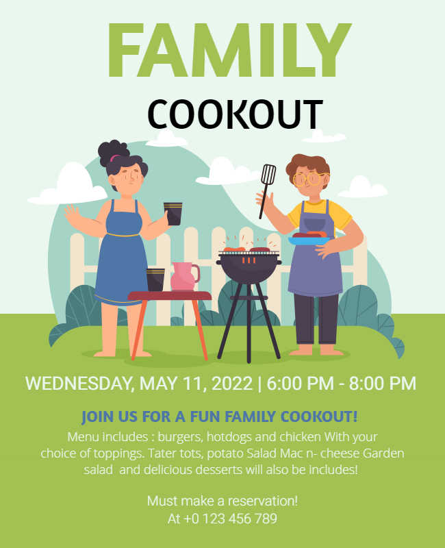 family Cookout flyer design samples