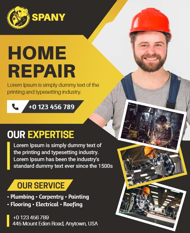 Construction Repair Services Flyer design Ideas