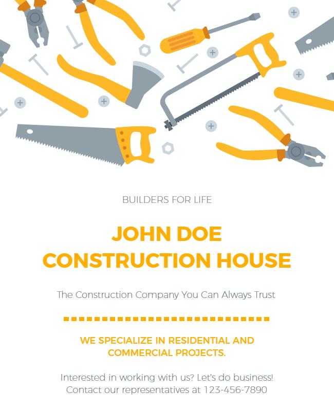 Construction flyer design illustration