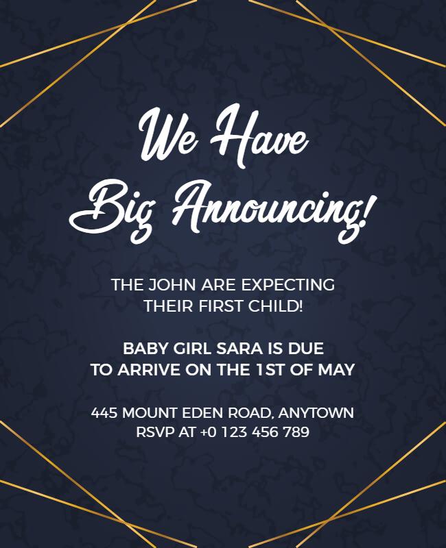 Pregnancy announcement flyer design ideas