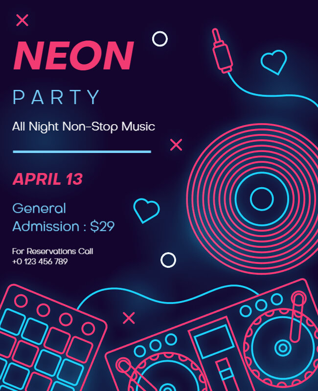 neon party template illustration