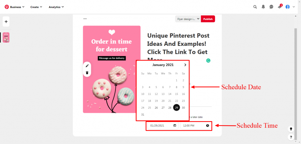 Pinterest schedule date and time