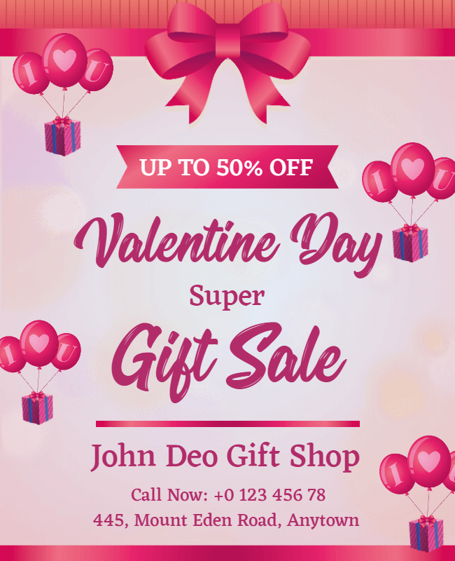 valentine gift sale flyer design idea