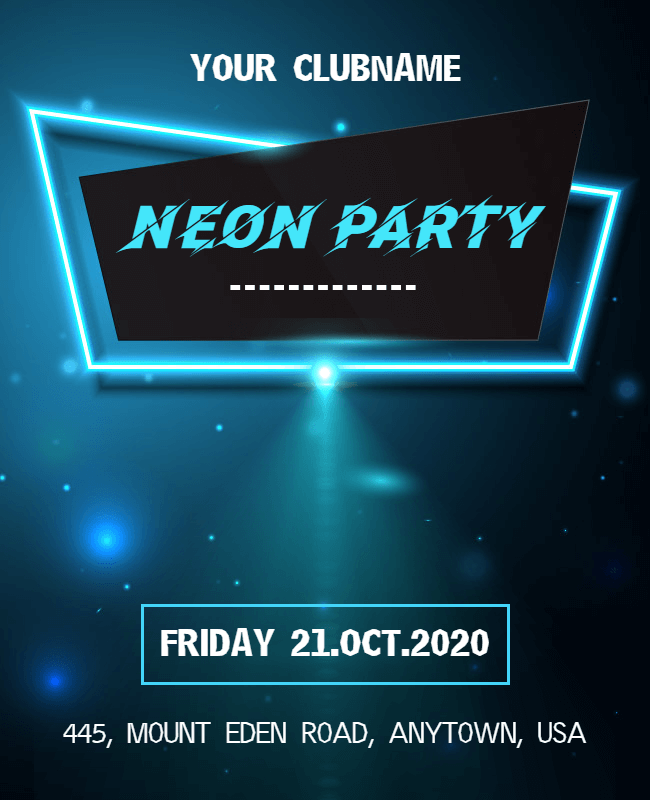 neon party flyer design idea
