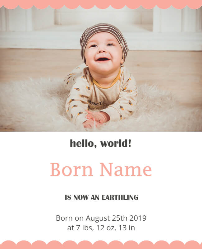 baby announcement template design