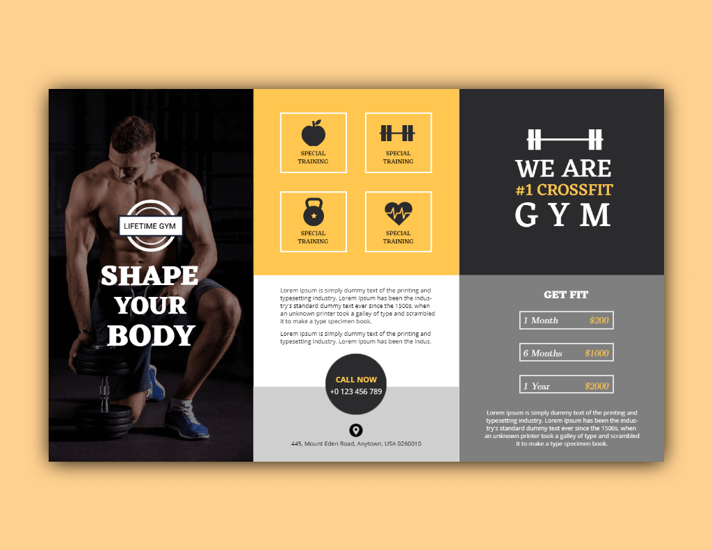 gym pamphlet design idea