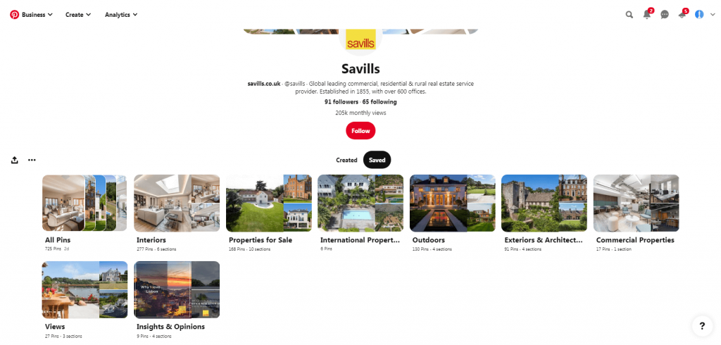 Savills pinterest profile