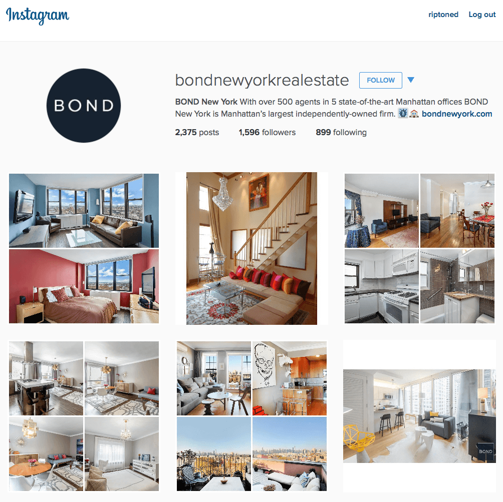 instagram profile of bondnewyorkrealestate
